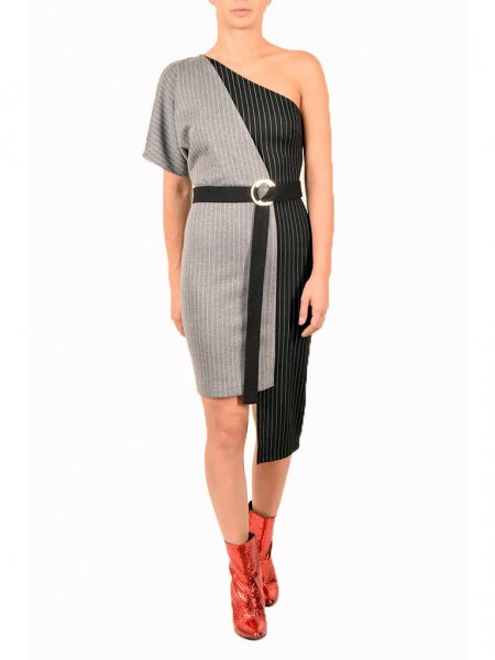 Mixed Fabric Asymmetric Dress