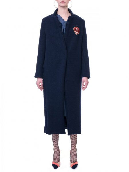 Navy Blue Cocoon Wool Coat