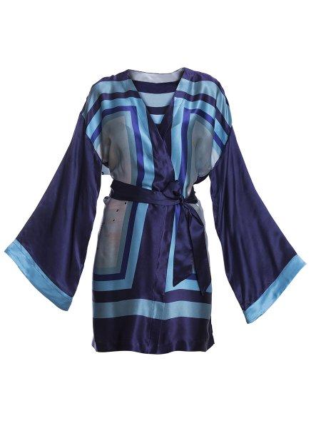 Navy Silk Kimono