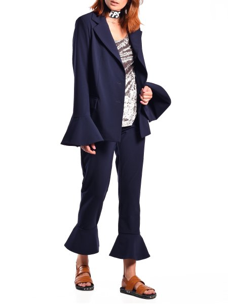 Navy Suit With Ruffles