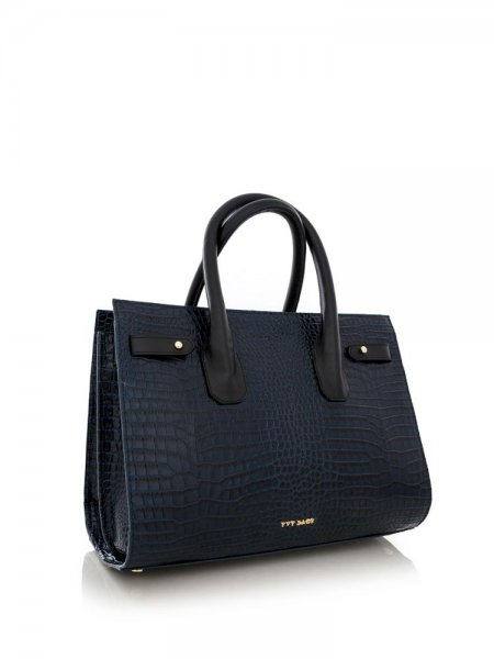Navy Textured Alice Bag