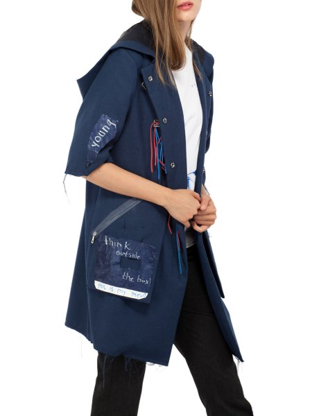 Navy Woolen Trench