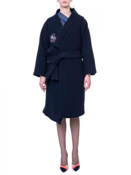 Navy Wrap Front Wool Coat