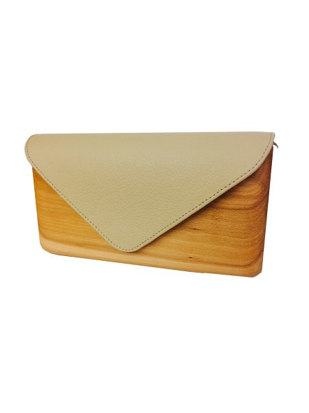 Nude Wood & Leather Handcrafted Bag