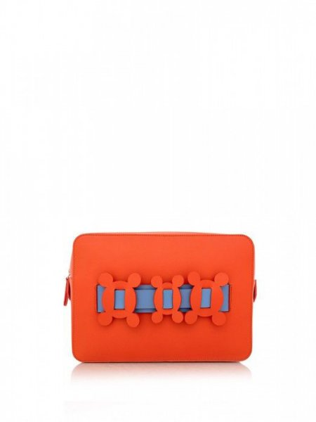 Orange Clutch with Blue Details