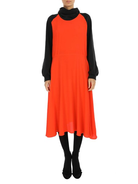 Orange Midi Dress with Oversized Collar