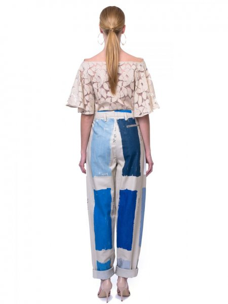 Oversized Tailored Trousers with Blue Details