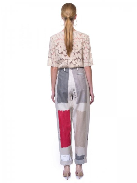 Oversized Tailored Trousers with Red Details