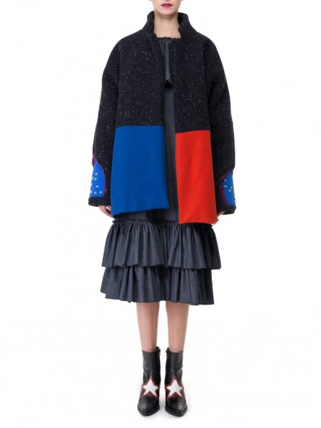 Oversized Wool Coat in Colour Block