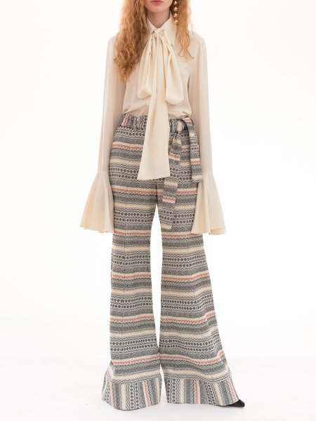 Pattern Fabric Flared Pants