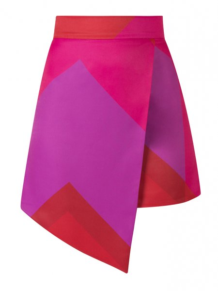 Pink Asymmetric Mini Skirt