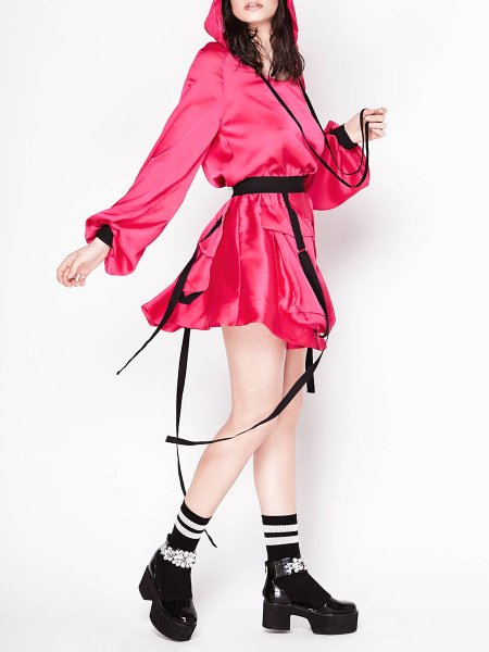 Pink Hooded Mini Dress with Long Sleeves
