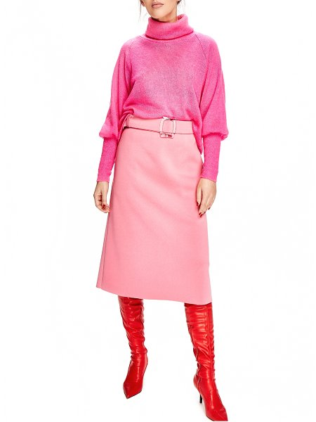 Pink Viscose Midi Skirt