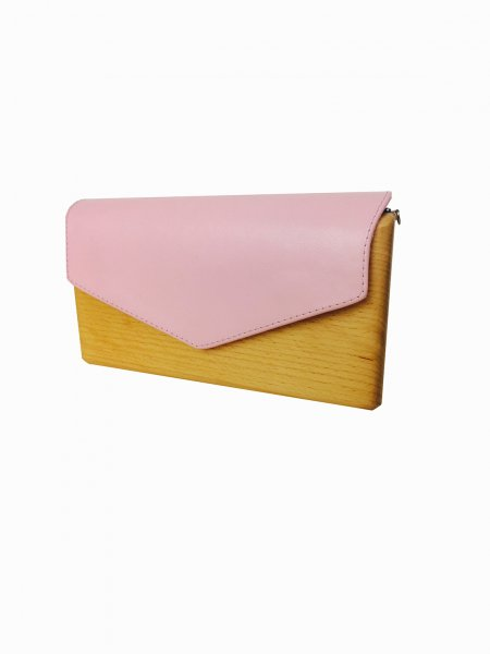 Pink Wood & Leather Handcrafted Bag