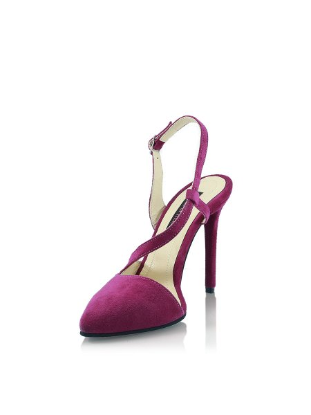 Plum Leather High Heels