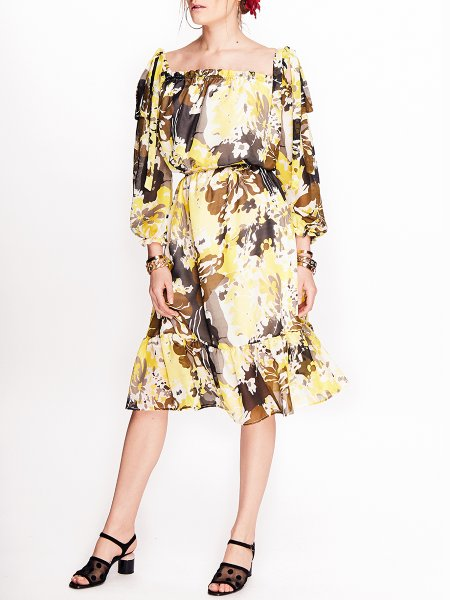 Printed Viscose Midi Dress
