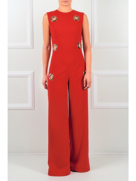Red Jumpsuit with Metallic Details