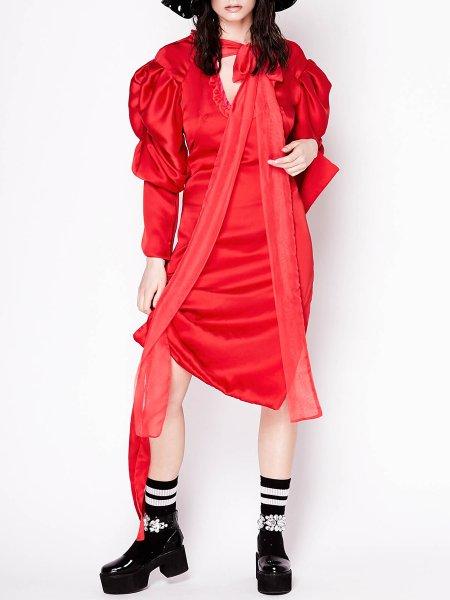 Red Satin Midi Dress