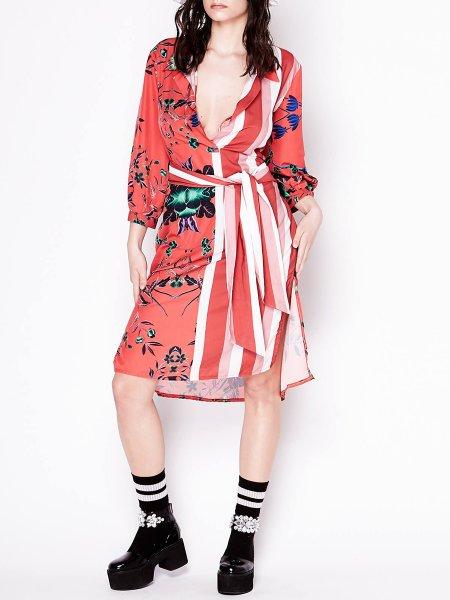 Red Satin Shirt-Dress
