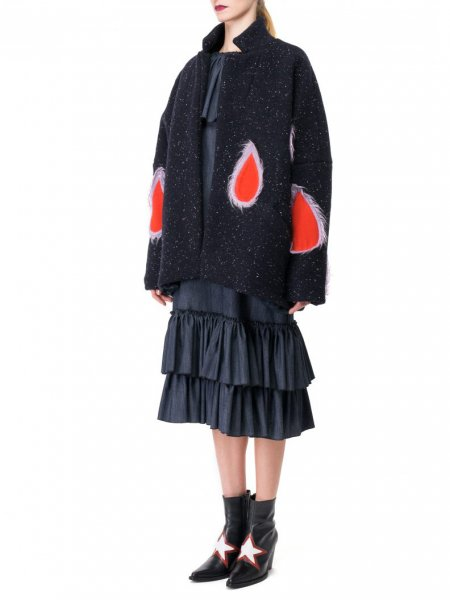 Red Tears Wool Coat