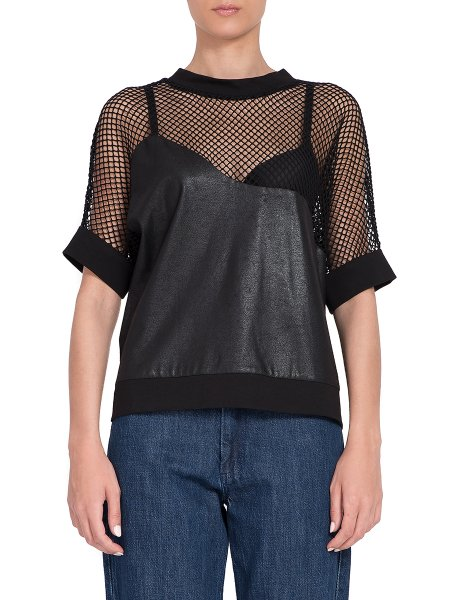 Short Sleeves Top With Mesh Insertion