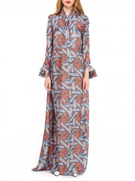 Silk Satin Maxi Print Dress