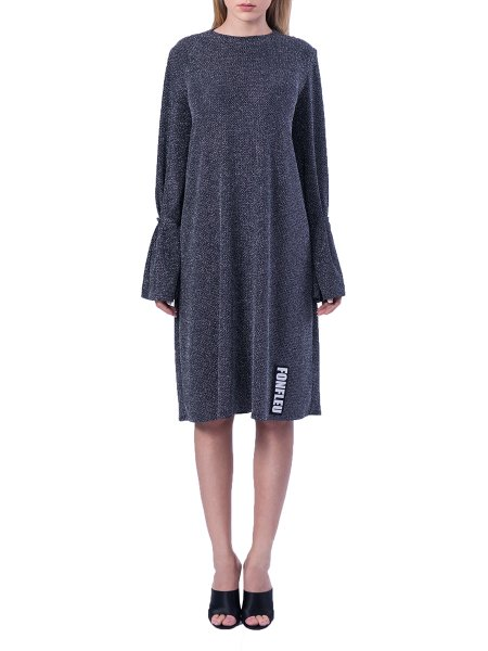 Silver Midi Lurex Dress