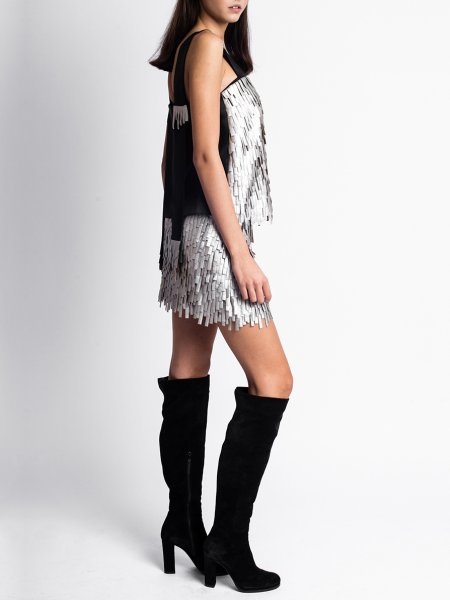 Silver Skirt with Fringes