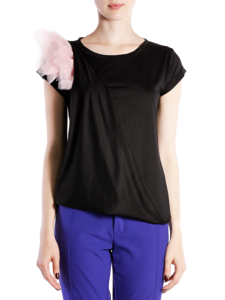Soft Cotton T-shirt With Shoulder Panels