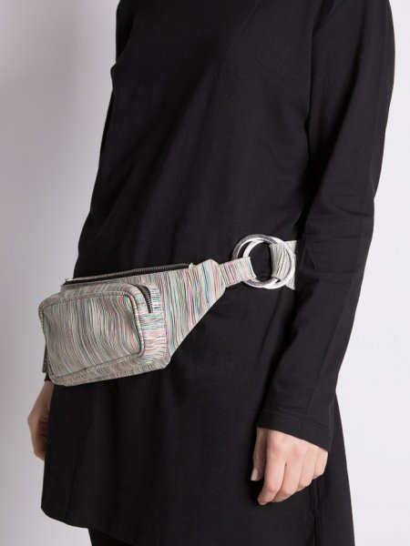 Striped Leather Waist Bag
