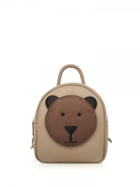 Taupe Ami Backpack with Brown Bear