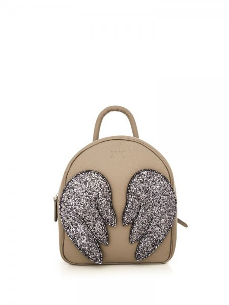 Taupe Ami Backpack with Grey Wings