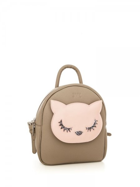 Taupe Ami Backpack with Pink Kitty