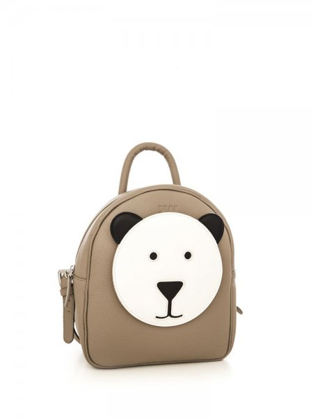 Taupe Ami Backpack with White Bear