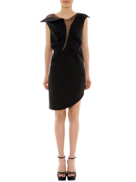 Tulle Embellished Asymmetrical Mini Dress