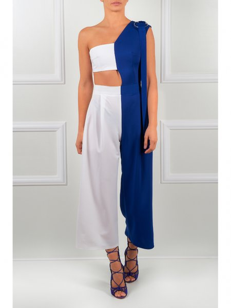 White & Blue Jumpsuit
