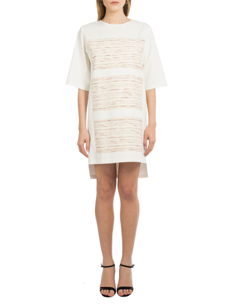 White Asymmetric Cotton Dress With Front Panels