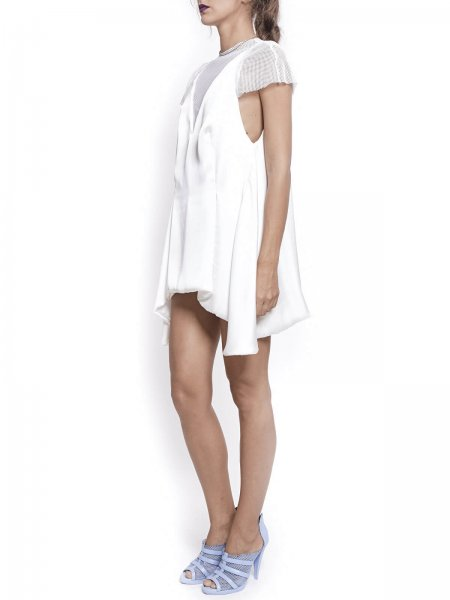 White Asymmetric Mini Dress