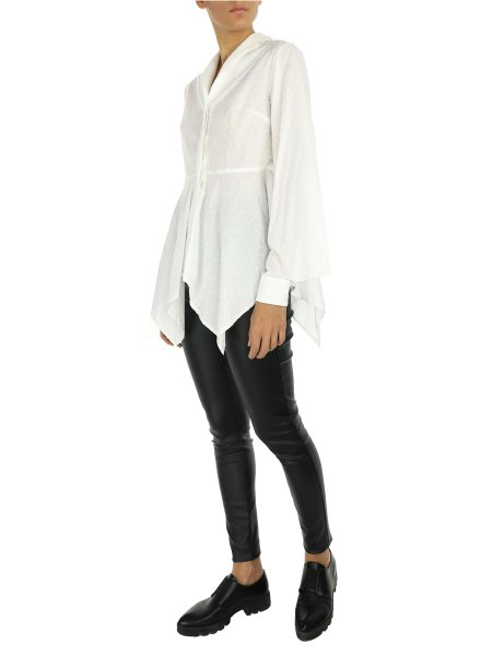 White Asymmetric Shirt with Dots