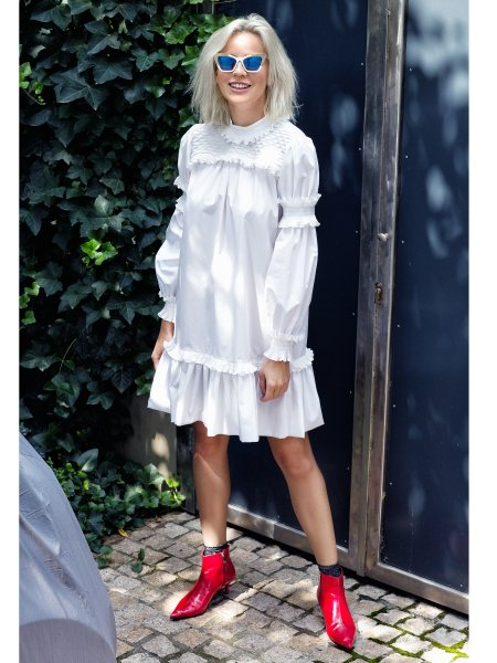 White Cotton Dress with Ruffles
