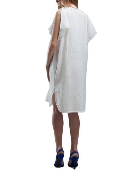 White Cotton Dress With Split Shoulders