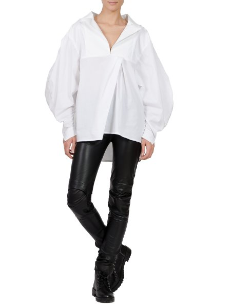 White Oversized Cotton Shirt with V-Neck