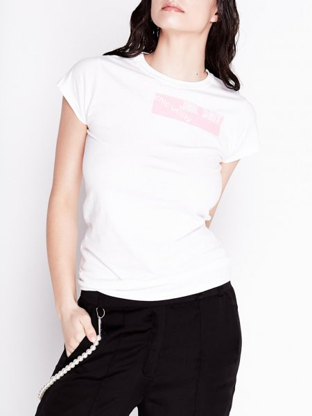 White Cotton Short Sleeves Printed T-shirt
