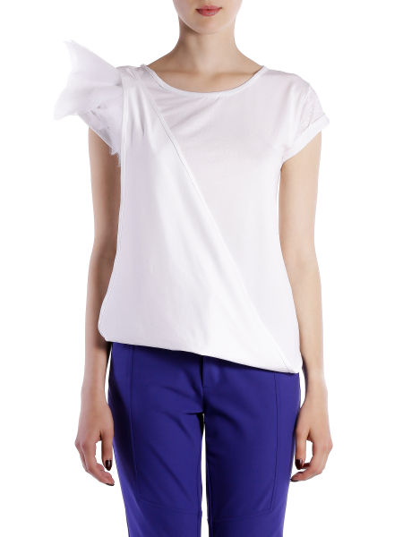 White Cotton T-shirt With Shoulder Panels