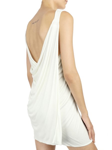 White Draped Dress