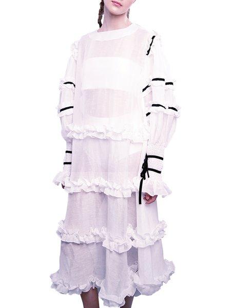 White Dress with Black Velvet Ribbons