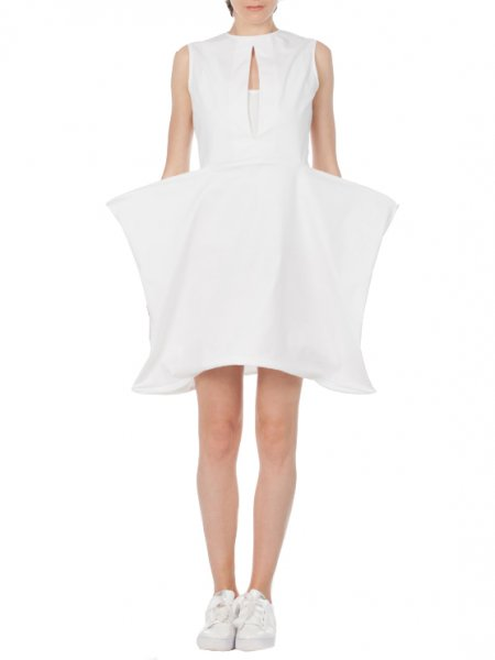 White Dress with Geometric Shape