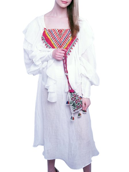 White Dress with Handmade Red Embroidery