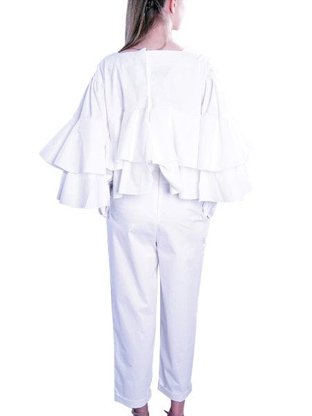 White Overall with Flounces