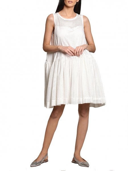 White Perforated Mini Dress